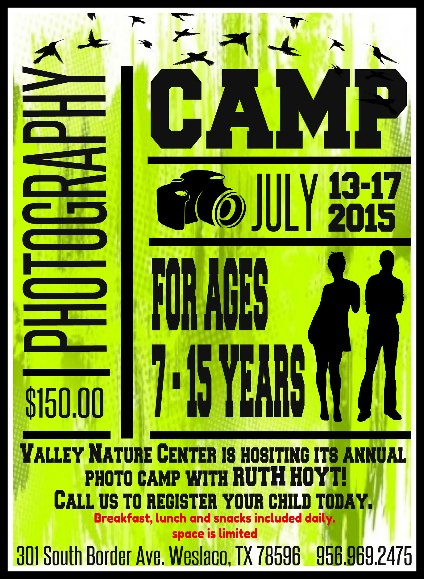Valley Nature Center's 2015 nature photo camp flyer